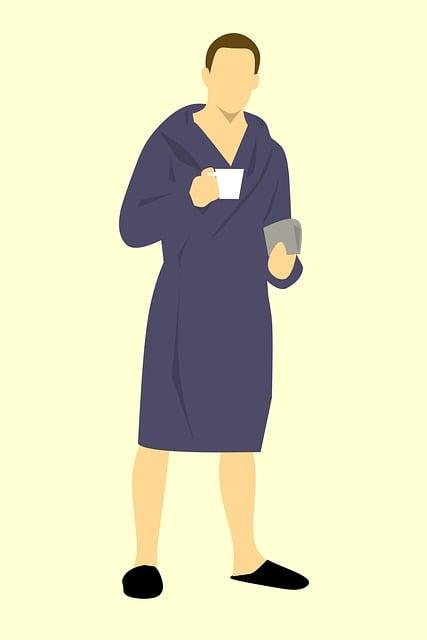 Man, Robe, Bathrobe, Coffee, Newspaper, Drink, Adult