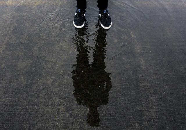 Feet, Footwear, Man, Outdoors, Person, Reflection