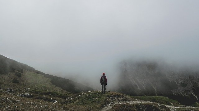 Adventure, Cold, Fog, Foggy, Hiker, Hiking, Man, Mist