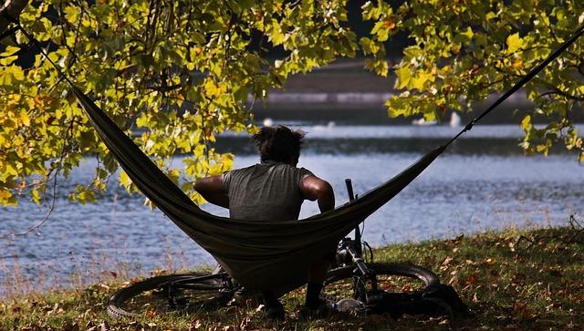 Man, Hammock, Autumn, Indian Summer, Bike, Lake, Trees