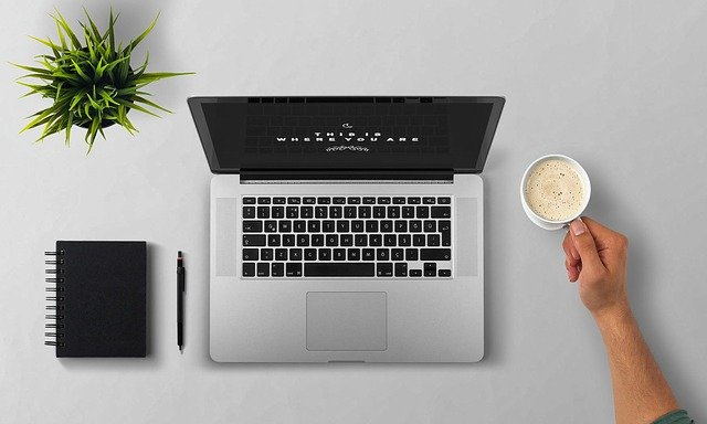 Laptop, Coffee, Arm, Man, Plant, Desktop, Note Pad, Pen