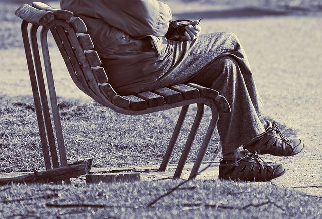 Man, Person, People, Sitting, Resting, Bench, Hand, Leg