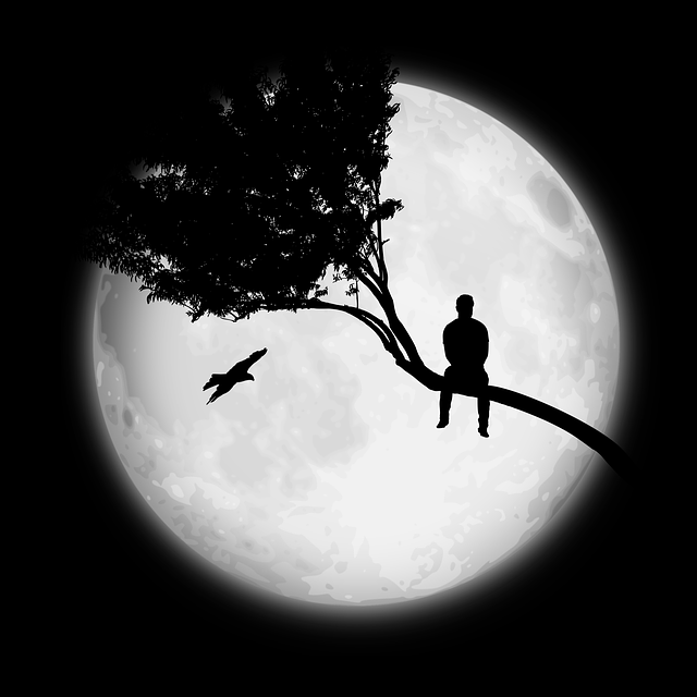 Moon, Man, Tree, Only