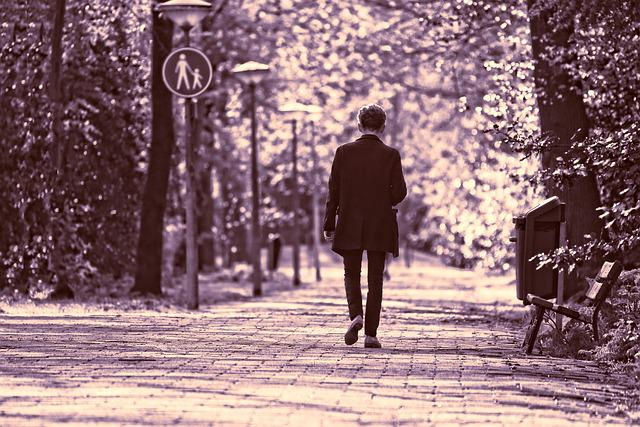 Man, Person, Walking, Motion, Movement, Lane, Tree