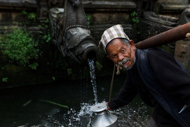 People, Portrait, Man, Kathmandu, Nepal, Water