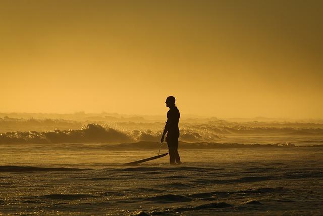 Backlit, Beach, Dusk, Landscape, Man, Ocean, Outdoors