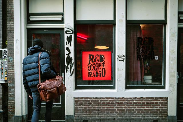 Man, Street, Outdoor, Window, Bag, Traveller, Red