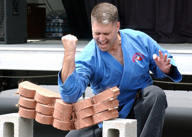 Man, Breaking Technique, Pavers, Elbow, Power, Force