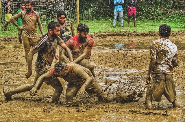 Mud Football, Kerala, Monsoon, People, Man, Group