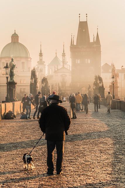 Prague, Charles Bridge, Bridge, Man, Dog, Gary Crowd