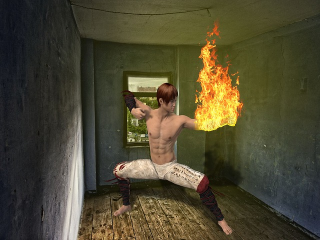 Fantasy, Fire, Man, Chinese, Asian, Room, Flame, Karate