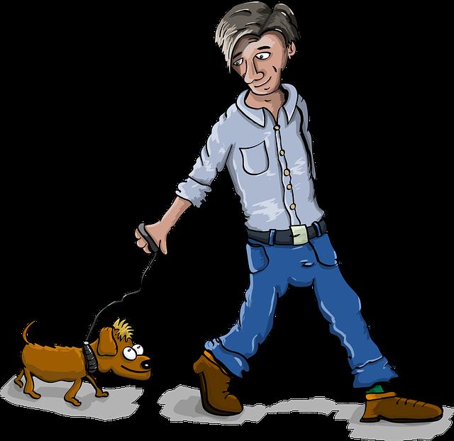 Man, Dog, Walking, Animals, Small Dog, Pet, Each, Pets
