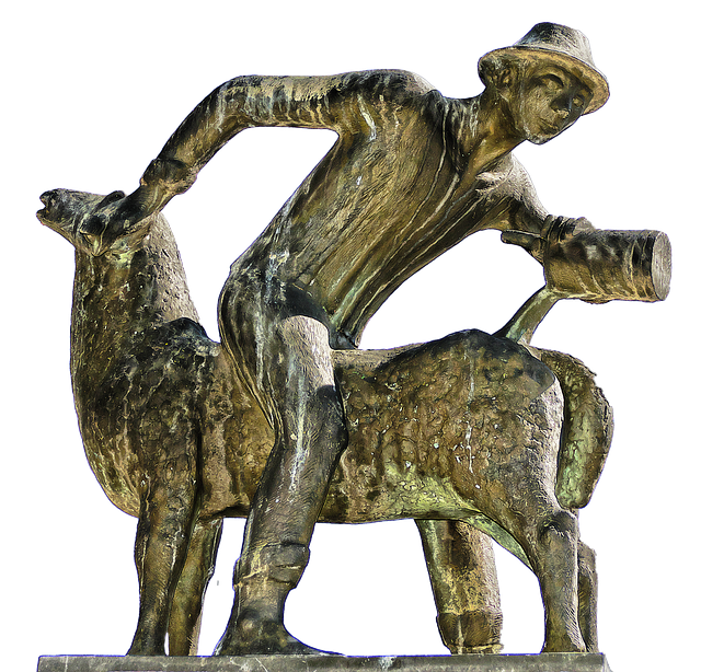 Sheep Scrubber, Man, Sheep, Wash, Bronze Statue, Statue