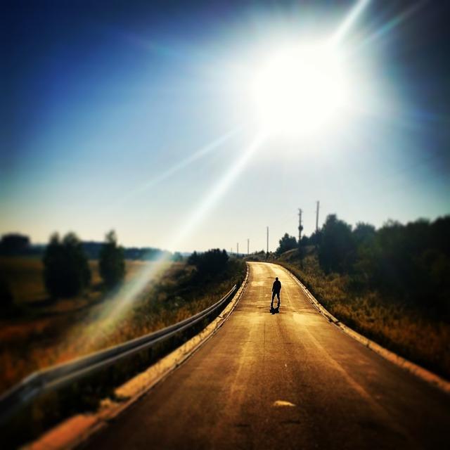 The Sun, Way, Street, Man