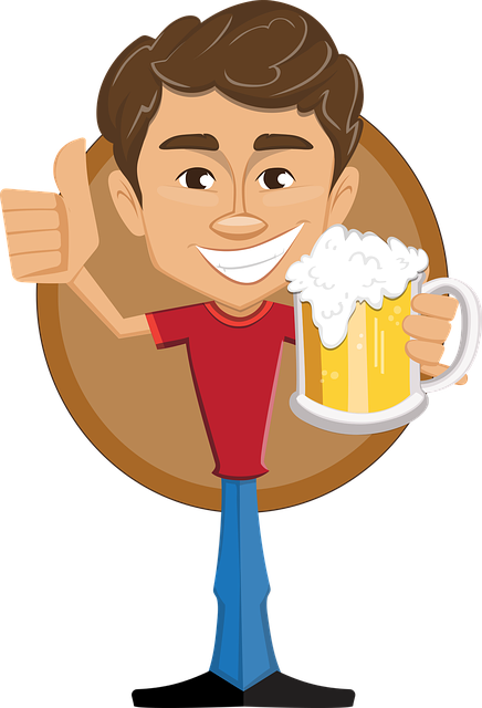 Man, Beer, Thumbs-up, Holding, Happy, Smile, T-shirt