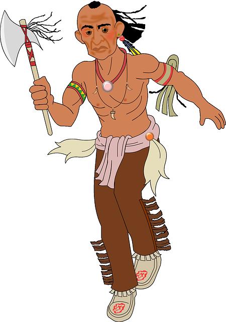 Axe, Indian, Running, Warpath, Man, Fighter