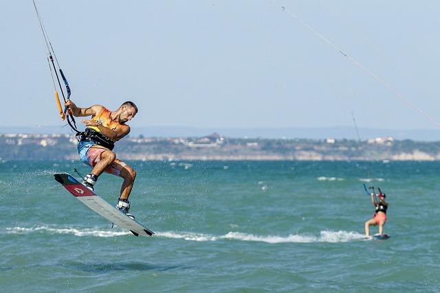 Man, Board, Ocean, Kite Surfing, Water Sports, Kite