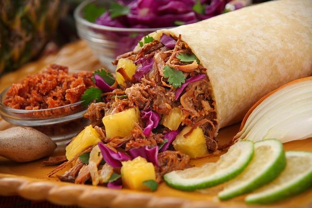 Grilled Pineapple Pork Burrito, Mango Catfish Taco