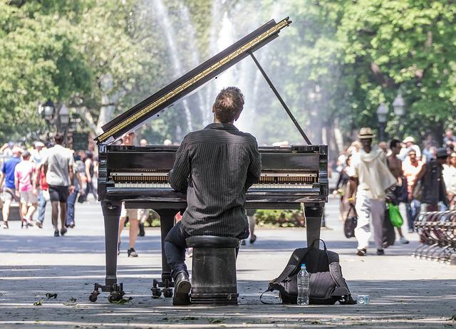 Manhattan, Concert, Solo, Piano, Park, Lonely, New York