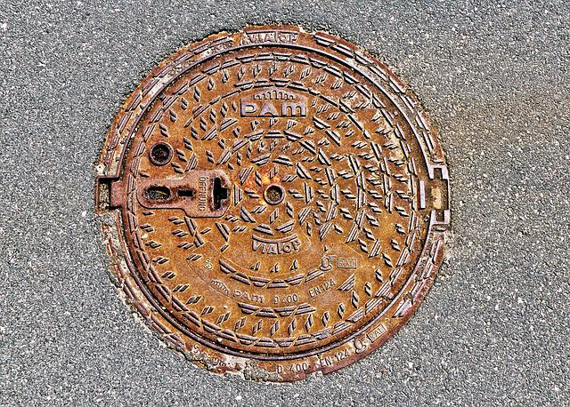 Manhole Cover, Rusty, Asphalt, About, Road, Background