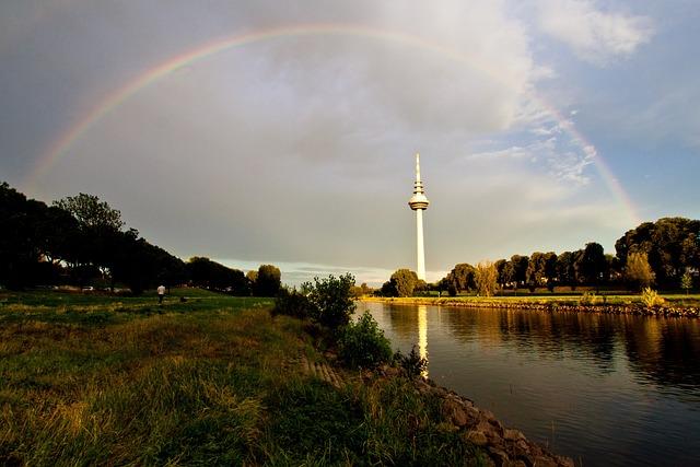 Mannheim, Neckar, Tv Tower, Rainbow, Mood