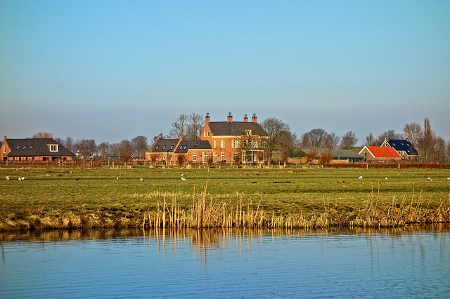 Manor, Estate, Field, Waterway, Farmhouse, Landscape
