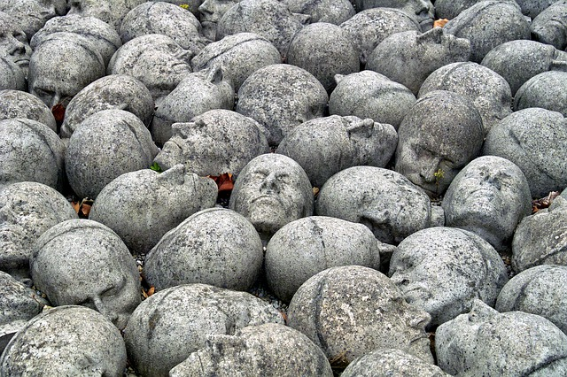 Stones, Heads, Sculpture, Art, Background, Nature, Many