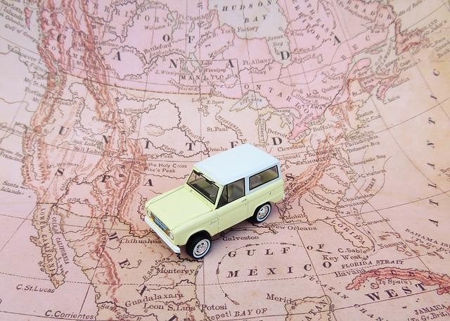 Map, Car, Toy, Road Trip, Ford Bronco, North America