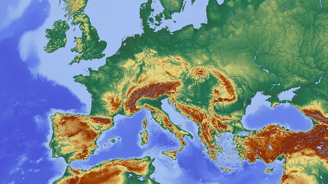 Map, Central Europe, Europe, Relief Map