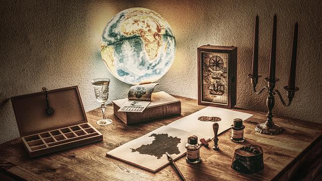 Rustic, Ancient, Map, Globe, Tusche Indian Ink, Feather