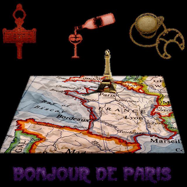 Map, Geography, Paris, France, Eiffel Tower, Keychain