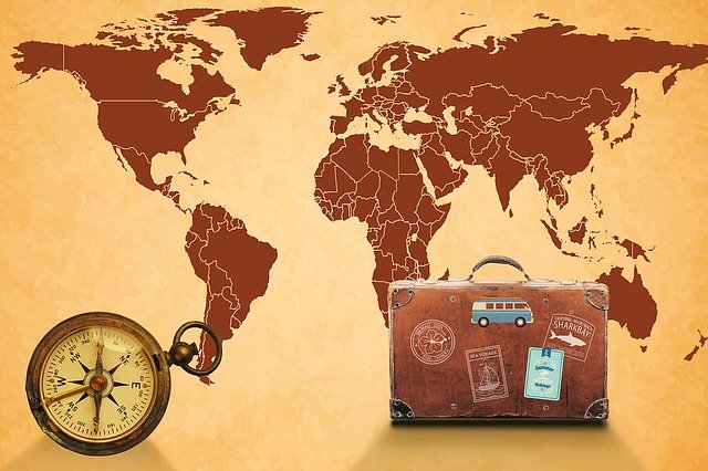 Map Of The World, Compass, Luggage, Map, Navigation