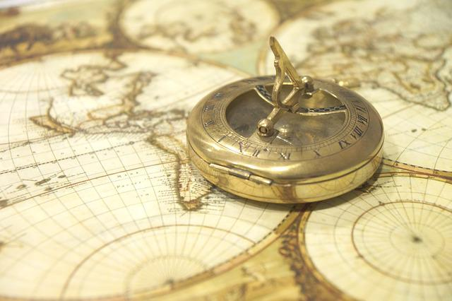 Map Of The World, Compass, Antique, Navigation, Route