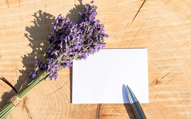 Greeting Card, Thank You Card, Lavender, Map, Pen