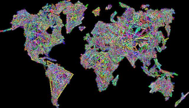 World, Map, Earth, Abstract, Geometric, Art, Borders