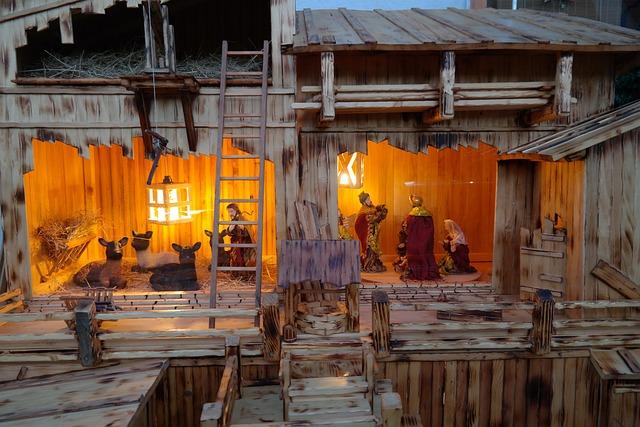Crib, Stall, Nativity Scene, Joseph, Maria