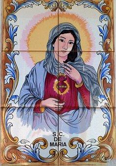 Faith, Religion, Maria, Madonna, Tiles, Heart, Catholic