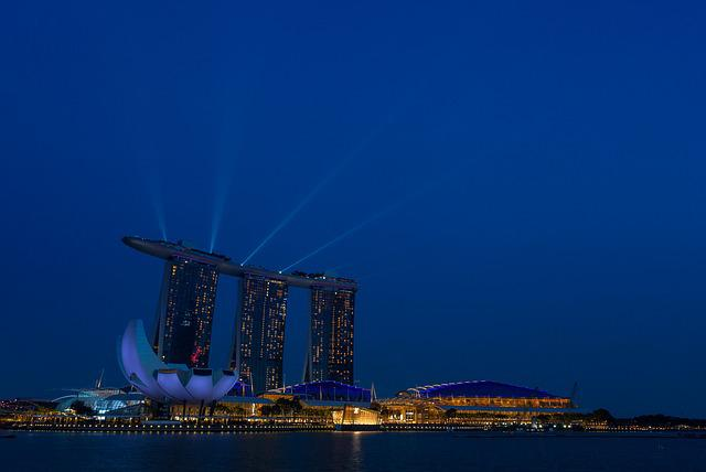 Singapoore, City, Night, Marina Bay Sands