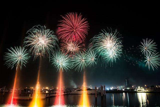 Boat, Dubai, Fireworks, Marina, Night