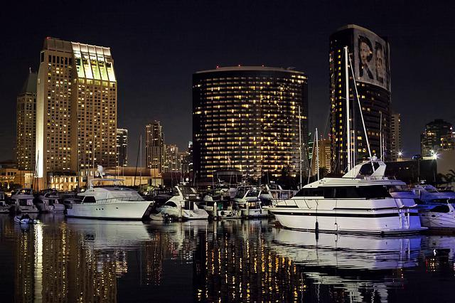 San Diego Skyline, Night, Evening, Glow, Harbor, Marina