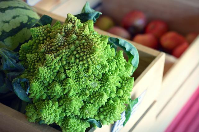 Romanesco, Vegetable, Broccoli, Cauliflower, Market