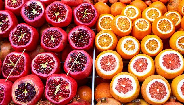 Market, Fruit, Oranges, Pomegranates, Pomegranate