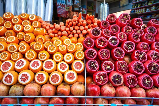 Orange, Pomegranate, Fruit, Red, Sour, Market, Istanbul