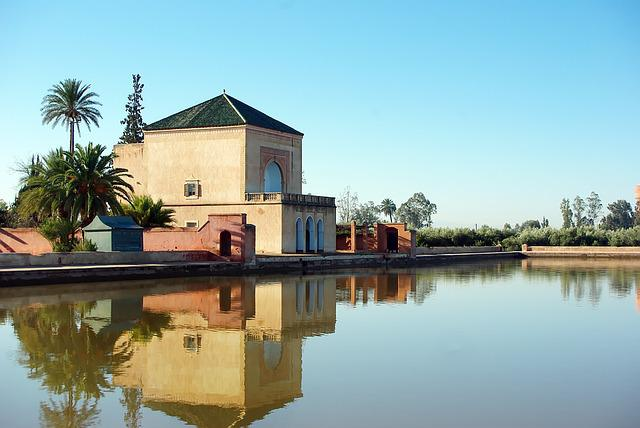 Morocco, Marrakech, Menara Palace, Water, Reflections