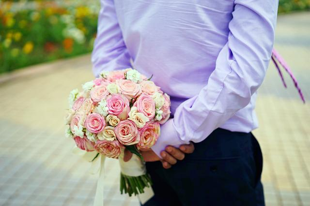 Holding Flowers, The Groom, Location, Wedding, Marriage