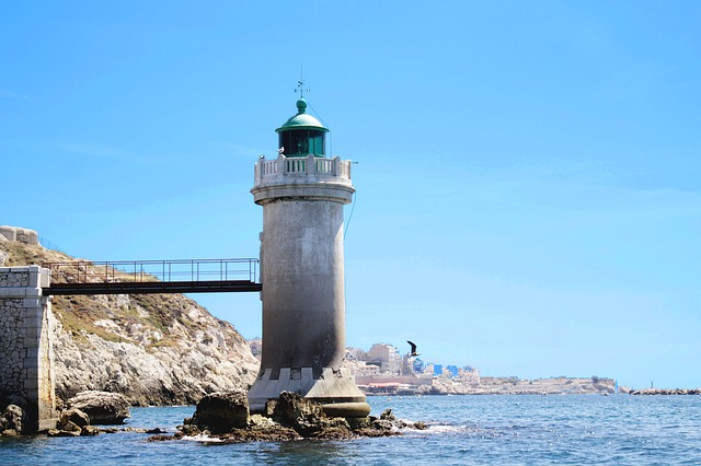 Marseille, Sea, Lighthouse, France, Blue, City