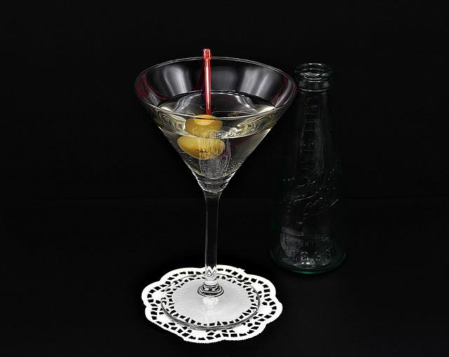 Martini, Olive, Glass, Bottle, Alcohol, Cocktail, Drink