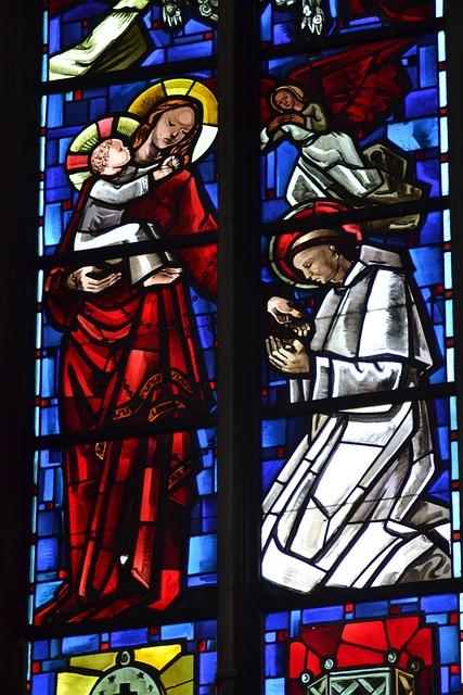Stained Glass, Blue, Window, Church, Mary, Faith, Rings