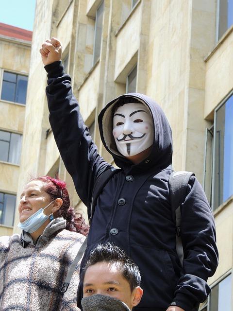 Anonymous, Mask, Bogotá, Protest