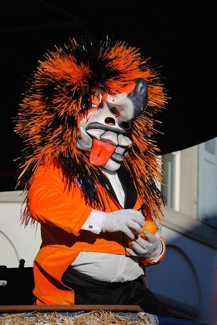 Mask, Waggis, Orange Throw, Carnival